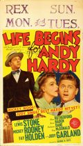 "Movie Posters:Comedy, Life Begins for Andy Hardy (MGM, 1941). Midget Window Card (8"" X14""). Autographed. ..."