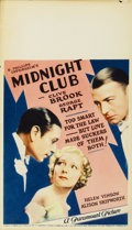"Movie Posters:Crime, Midnight Club (Paramount, 1933). Midget Window Card (8"" X 14"")...."
