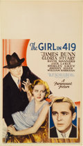 "Movie Posters:Crime, The Girl in 419 (Paramount, 1933). Midget Window Card (8"" X14"")...."