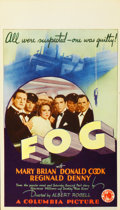"Movie Posters:Mystery, Fog (Columbia, 1933). Midget Window Card (8"" X 14"")...."