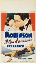 "Movie Posters:Drama, I Loved a Woman (First National, 1933). Midget Window Card (8"" X14"")...."