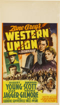 "Movie Posters:Western, Western Union (20th Century Fox, 1941). Midget Window Card (8"" X 14"")...."