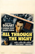 "Movie Posters:Action, All Through the Night (Warner Brothers, 1942). Window Card (14"" X22"")...."
