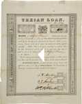 Autographs:Statesmen, First Texian Loan Signed by Stephen F. Austin, Branch T. Archer,and William H. Wharton....