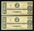 Confederate Notes:1864 Issues, Consecutive T70's $2 1864 PF-5 Cr. 567.. ...