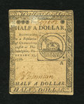 Colonial Notes:Continental Congress Issues, Continental Currency February 17, 1776 $1/2 Very Fine....