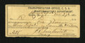 Confederate Notes:Group Lots, Transportation Office C.S.A. Quartermaster's Department. ...