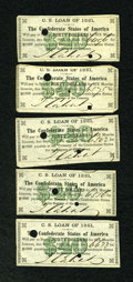 Confederate Notes:Group Lots, 1861 Bond Coupons.. ... (Total: 5 items)