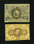 Fractional Currency:First Issue, Two 5c Fractionals.. ... (Total: 2 notes)