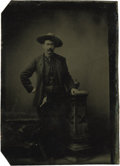 Western Expansion:Cowboy, Sixth Plate Tintype Photograph Armed Gentleman Cowboy ca 1870s -...