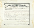 "Miscellaneous:Ephemera, ""In The Name of the State of Texas"" Signed by Governor 1882 - ..."