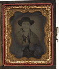 Photography:Ambrotypes, Ninth Plate Ambro photograph of Cowboy looking Dude ca1860s-1870s...