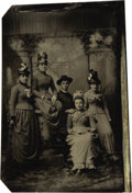Photography:Tintypes, 16th Plate Tintype Image of Four Victorian Ladies ca 1860s-1870s -...