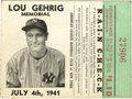 Baseball Collectibles:Tickets, 1941 Lou Gehrig Memorial New York Yankees Ticket Stub. Exceptionalmemento from one of the most historically-significant ev...