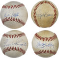 Autographs:Baseballs, Baseball Stars Single Signed Baseballs Lot of 4. Excellent quartetof single signed official orbs comes to us by way of fou...