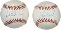 Autographs:Baseballs, Rickey Henderson and Lou Brock Single Signed Baseballs Lot of 2 .The celebrated Hall of Fame slugger Lou Brock is joined h...