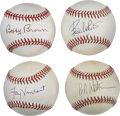 Autographs:Baseballs, Baseball Executives Single Signed Baseballs Lot of 4. The four menwho have checked in here have contributed greatly to the...