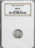 Modern Bullion Coins, 2006 $10 Tenth-Ounce Platinum MS69 NGC. NGC Census: (0/0). PCGSPopulation (1492/114). (#821116)...