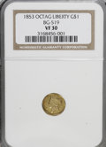 California Fractional Gold: , 1853 $1 Liberty Octagonal 1 Dollar, BG-519, Low R.4, VF30 NGC. NGCCensus: (1/17). PCGS Population (0/104). (#10496)...