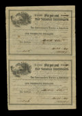Confederate Notes:Group Lots, Ball 366-366 Cr. UNL-UNL $1000 1864 Six Per Cent Non TaxableCertificates Uncut Sheet of Two Fine-Very Fine.. ...