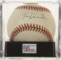 Autographs:Baseballs, Tommy Lasorda Single Signed Baseball, PSA NM-MT 8. As the highlysuccessful Dodgers manager for 21 seasons Tommy Lasorda led...