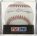 Autographs:Baseballs, Dom DiMaggio Single Signed Baseball, PSA Mint 9. The youngerbrother of the Yankee Clipper has signed a near flawless single...