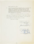 Autographs:U.S. Presidents, Ronald Reagan Screen Actors Guild Contract Signed as President. ...