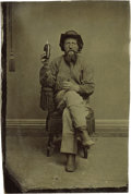 Western Expansion:Goldrush, A Drink and a Good Cigar Tintype. ...