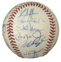 Autographs:Baseballs, 1995 American League All-Stars Team Signed Baseball. For the firsttime in All-Star Game history, the Texas Rangers hosted...