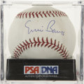 Autographs:Baseballs, Ernie Banks Single Signed Baseball, PSA NM-MT+ 8.5. The mansynonymous with Chicago Cubs baseball for so many years has writ...