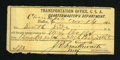 Confederate Notes:Group Lots, Transportation Office C.S.A. Quartermaster's Department.. ...