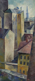 Fine Art - Painting, Russian:Contemporary (1950 to present), ALEXANDER ALEKSANDROVICH OSMERKIN (Russian, 1892-1953). Cityscape. Oil on board. 46-3/4 x 20-3/4 inches (118.7 x 52.7 cm...