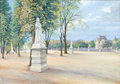 Fine Art - Work on Paper:Watercolor, ALEXANDRE NIKOLAEVICH BENOIS (Russian/French, 1870-1960).Statues in Park, 1906. Watercolor. 13-1/4 x 18-3/4 inches(33....
