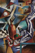 Fine Art - Painting, Russian:Modern (1900-1949), NADEZHDA UDALTSOVA (Russian, 1886-1961). Cubist Still Life.Oil on board. 29-3/4 x 20-1/8 inches (75.6 x 51.2 cm). Signe...