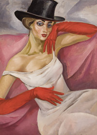 BORIS GRIGORIEV (Russian, 1886-1939) Lady in Top Hat Oil on canvas 32 x 24-1/4 inches (81.3 x 61