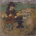 Fine Art - Painting, European:Modern  (1900 1949)  , IVAN (JEAN POUGNY) PUNI (Russian, 1894-1956). Man on a Bench. Oil on canvas laid on cardboard. 4-3/4 x 4-3/4 inches (12....
