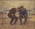 Fine Art - Painting, Russian:Modern (1900-1949), A. LAKOFSKY (Russian, 20th Century). Two Men on a Bench. Oilon board. 24 x 20-1/4 inches (61.0 x 51.4 cm). Signed lower...