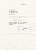 Autographs:Celebrities, Typed Letter Signed by Marlene Dietrich with Autograph Note. Onepage typed letter, 4to, Paris, October 18, 1984. Accompanie...(Total: 3 Items)