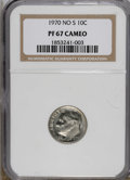Proof Roosevelt Dimes: , 1970 10C No S PR67 Cameo NGC. A lightly toned Superb Gem example ofthis rare mint error. The cameo contrast is strong on t...