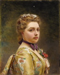 Fine Art - Painting, European:Antique  (Pre 1900), GUSTAVE JEAN JACQUET (French 1846-1909). Portrait Of A Lady. Oil onpanel. 12 x 9 3/4 inches (30.5 x 24.8 cm). Signed at low...