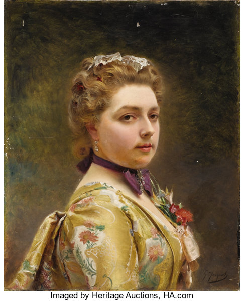 GUSTAVE JEAN JACQUET (French 1846-1909). Portrait Of A Lady. Oil ...