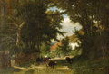 Fine Art - Painting, European:Antique  (Pre 1900), FRANS KEELHOFF (Belgium 1802-1893). Landscape With Cattle Grazing, 1866. Oil on canvas. 23 x 32-1/4 inches (49.2 x 69 cm...
