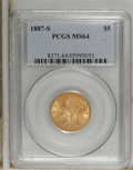 Liberty Half Eagles: , 1887-S $5 MS64 PCGS. Choice and solidly struck with pleasingluster. This lovely yellow-orange representative is impressive...