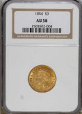 Three Dollar Gold Pieces: , 1854 $3 AU58 NGC. Luster dominates the borders and devices of thissingle-year design subtype. DOLLARS is in small letters ...