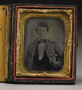 Military & Patriotic:Civil War, Private John Gaither, a Virginia Confederate 1/9th Plate Ambrotype. Two notations by the portrait's sitter, one in pencil an...