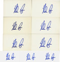 "Autographs:Index Cards, Nolan Ryan Signed Index Cards Lot of 9. Fine collection of nineunlined 3x5"" index cards presented here have each been sign..."