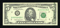 Error Notes:Ink Smears, Fr. 1980-B $5 1988A Federal Reserve Note. Crisp Uncirculated.. ...