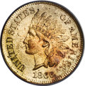 Indian Cents, 1866 1C MS65 Red PCGS....