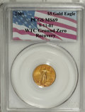 Modern Bullion Coins, 2001 G$5 Tenth-Ounce Gold Eagle MS69 PCGS. 9-11-01 WTC Ground ZeroRecovery....