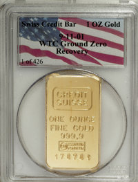 One-Ounce Gold Swiss Credit Bar PCGS. 9-11-01 WTC Ground Zero Recovery. ...(PCGS# 9958)
